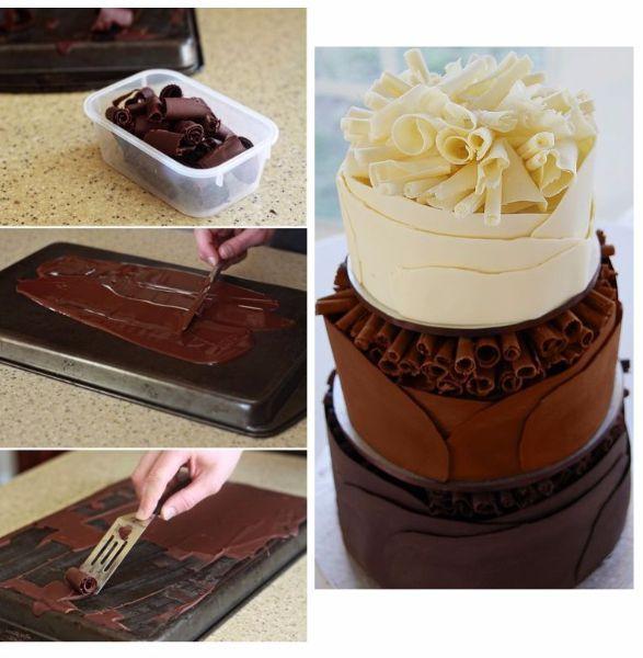 1. Шоколадная стружка. Необходимо взять шоколад, растопить и нанести на противень или другую металлическую поверхность. Срезать с него аккуратно слои, они будут сами сворачиваться в трубочку. Перед тем, как украшать торт, надо положить стружку в холодильник для застывания.