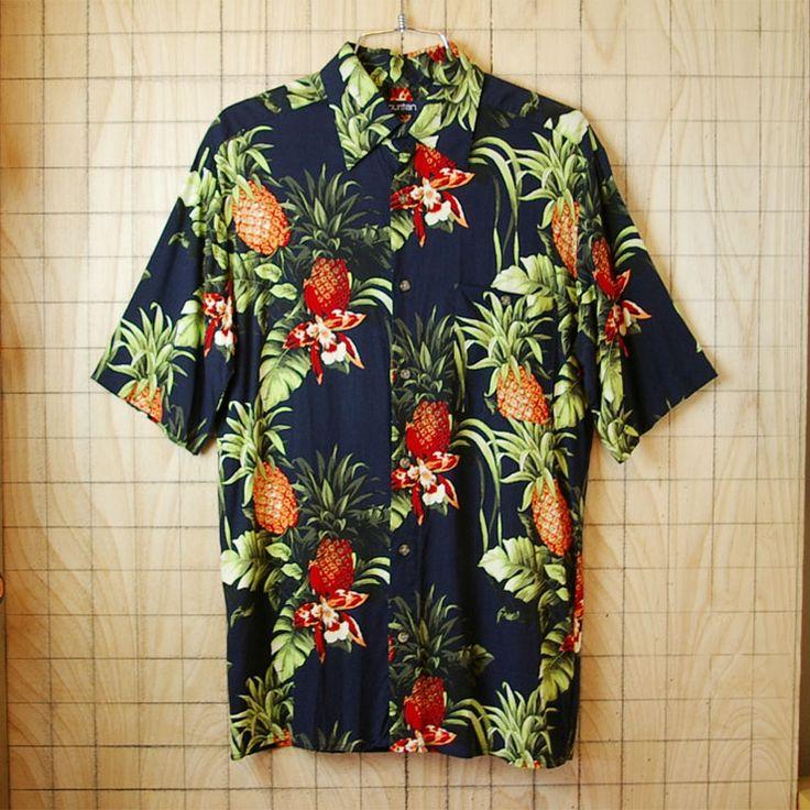 【puritan】古着ブラックパイナップル・花柄総柄ハワイアン・アロハ半袖レーヨンシャツ|メンズSサイズ