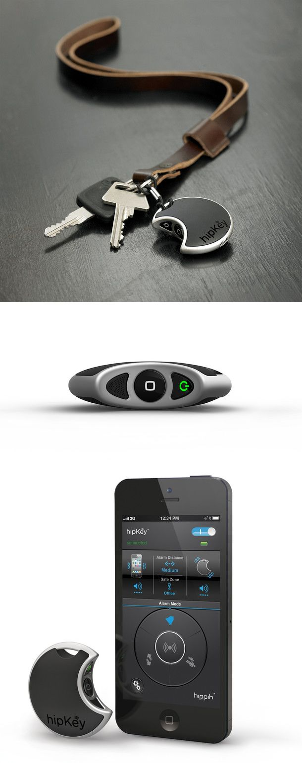 hipKey Valuable Tracker // Never lose your keys again! This app-enabled alarm system keeps track of valuables. Attach the hipKey to any item and enable an alarm from your smartphone when you need to locate it ...NEED! #product_design