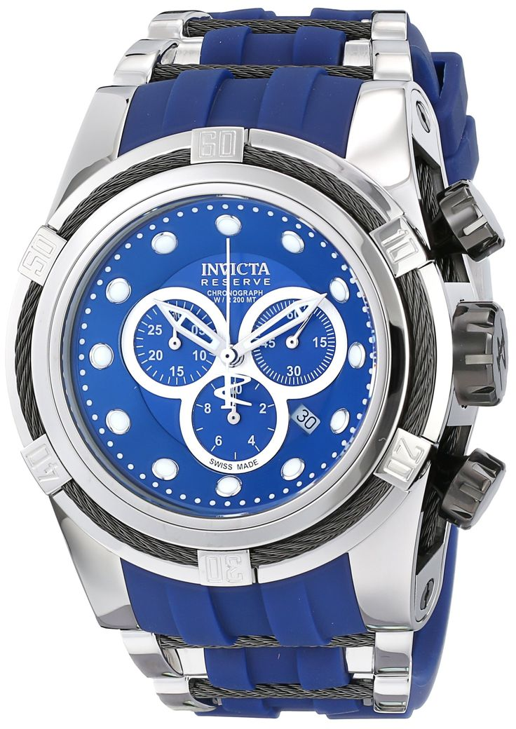 Invicta Men's 14403 Bolt Chronograph Blue Dial Blue Polyurethane Watch. Swiss quartz movement. Flame-fusion crystal; stainless steel case with black twisted wire accents; blue polyurethane strap with stainless steel and black twisted wire accent. Chronograph functions with 60 second, 30 minute and 1/10th of a second subdials with silver border; date window at 4:00. Blue dial with silver tone and white hands and hour markers; luminous; stainless steel bezel with black twisted wire accent;...