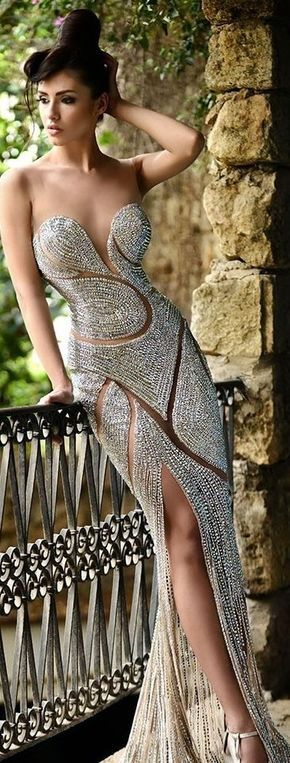 Creative  Low V Neck Halter Beading Handmade Slit Beautiful Evening Dress 2012