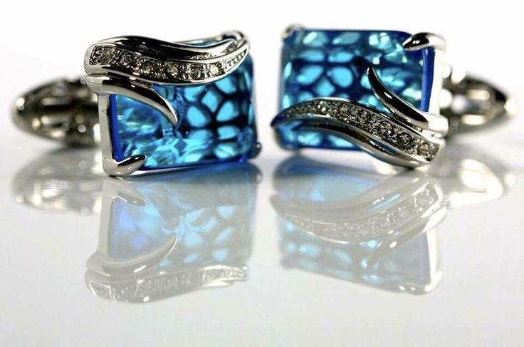 CROWN Austrian Crystal Emerald Cut Cufflinks