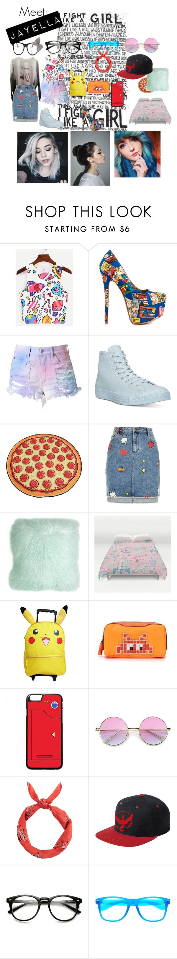 """Meet Jayella"" by rileykaren ❤ liked on Polyvore featuring Shoe Republic LA, Cotton Candy, Converse, River Island, Pillow Decor, Anya Hindmarch and New Look"