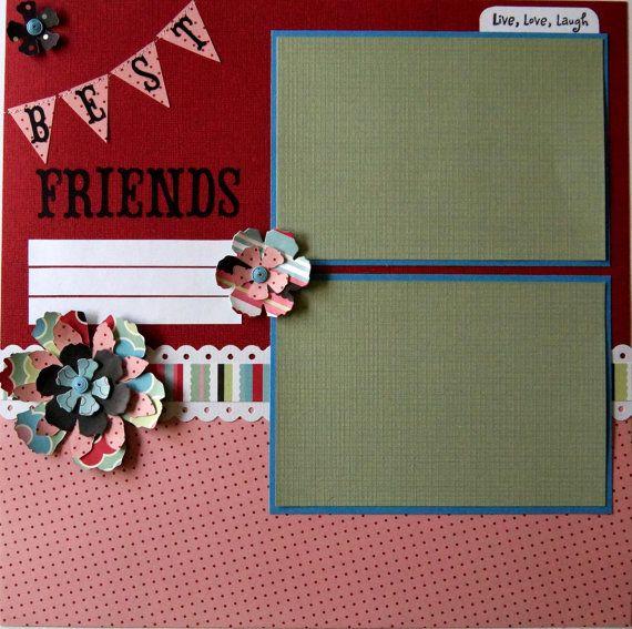 Best Friends Scrapbook Page Premade by PaperPrettiesandMore, $10.00