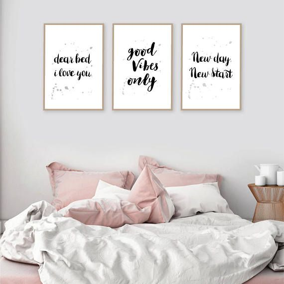 Set Of 3 Black White Gold Downloadable Small Prints Positive Words