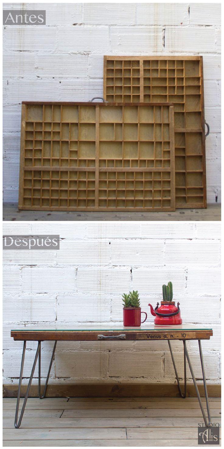 Antes y después. Un cajón de imprenta transformado en una mesita. Studio Alis - Barcelona