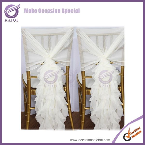 Fashionable design wholesale chiffon wedding cheap chair covers with sash and hood $1~$3.99