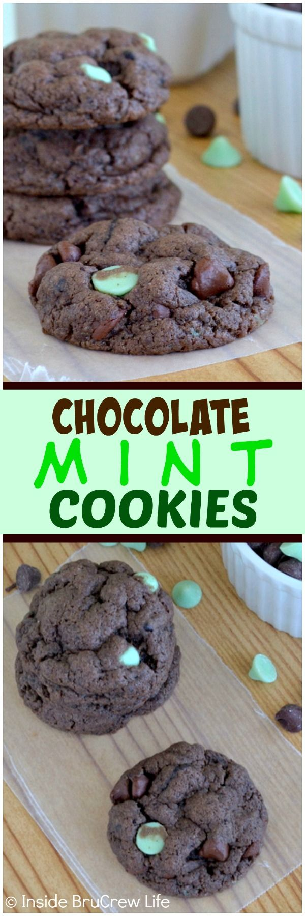 Chocolate Mint Cookies - adding cookie chunks and mint chocolate chips to these easy chocolate cookies makes this the best holiday cookie recipe!