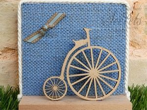 Picture of Μπομπονιέρα βάπτισης καδράκι vintage ποδήλατο