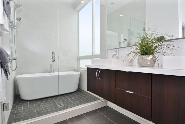 Simple Bathroom with Dark Floor Remodeling