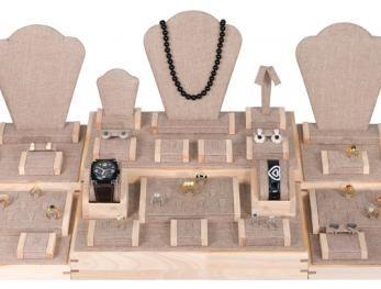 35 Piece Burlap Showcase Display Set With Natural Wood Trim    Price: $169.95/set