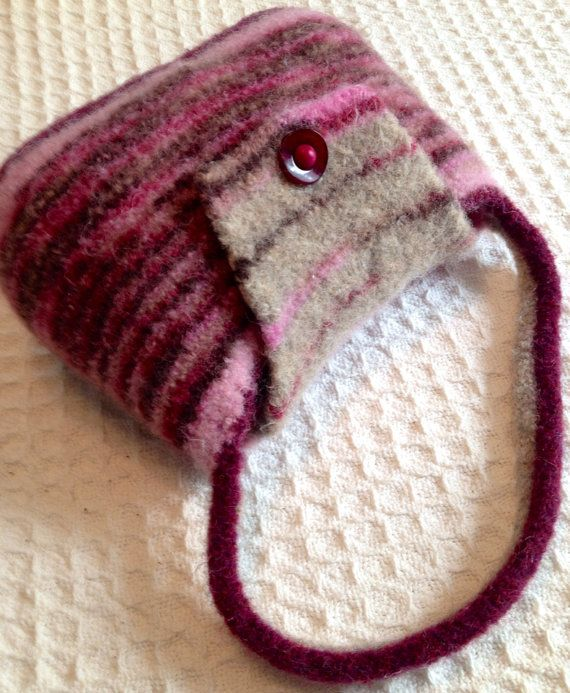 Little Girl Purse Pink Maroon and Beige Striped Purse  Gift for Girl Unique handmade purse Ready to ship birthday gift for girl