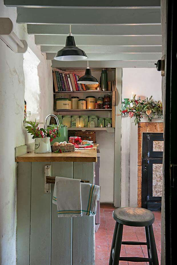 Touches of Christmas decorating in a country cottage kitchen