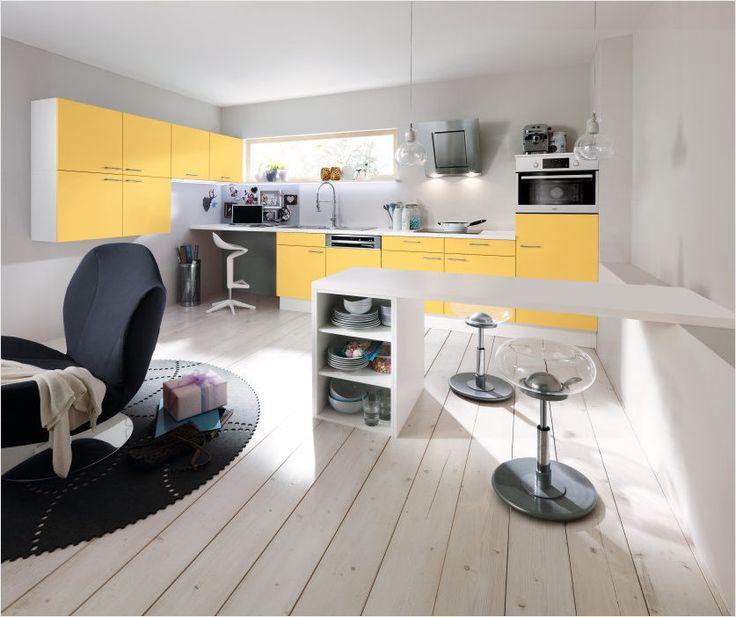 ALNO PINO , желтый цвет в светлом минималистическом интереьере