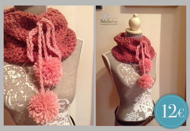 Crochet pompom cowl