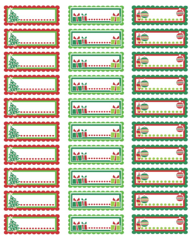 Charming Christmas Address Labels: Colorful Christmas Labels In A PDF Template Ready  To Print. Download