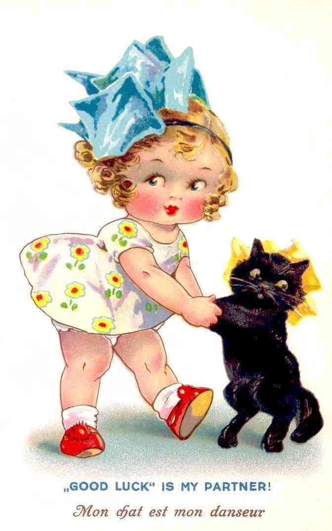 """Good Luck Is My Partner!"" ~ vintage postcard by Agnes Richardson."