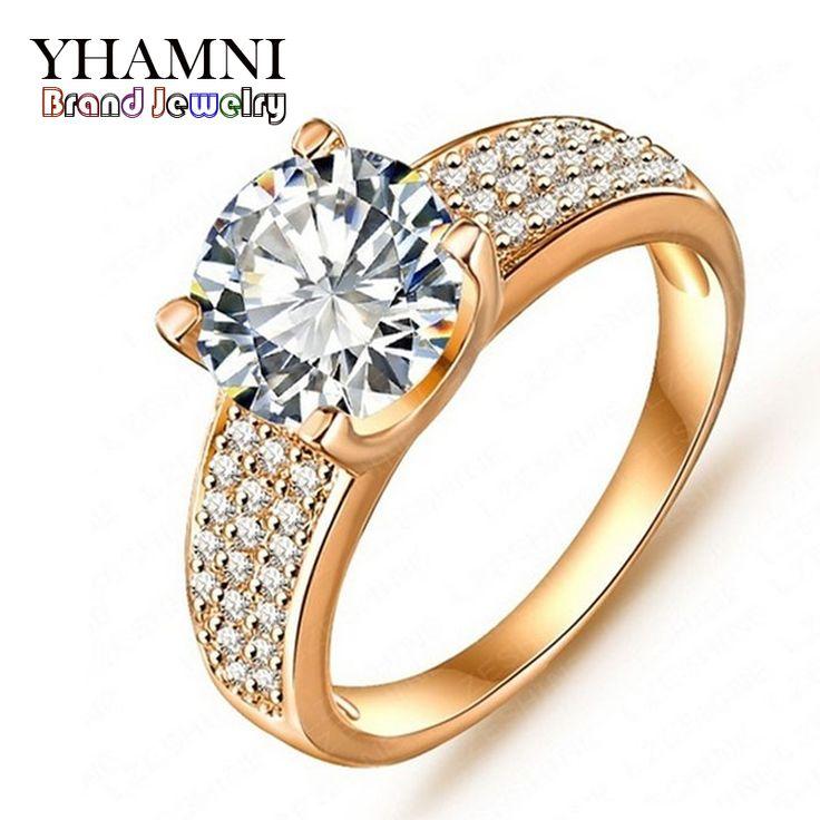 승진! 패션 24 천개 골드 가득 웨딩 약혼 반지 보석 빈티지 반지 지르코니아 액세서리 BKJZ018