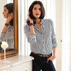 Striped Silk Shirt with Buttoned Cuffs LAURA CLEMENT - Women