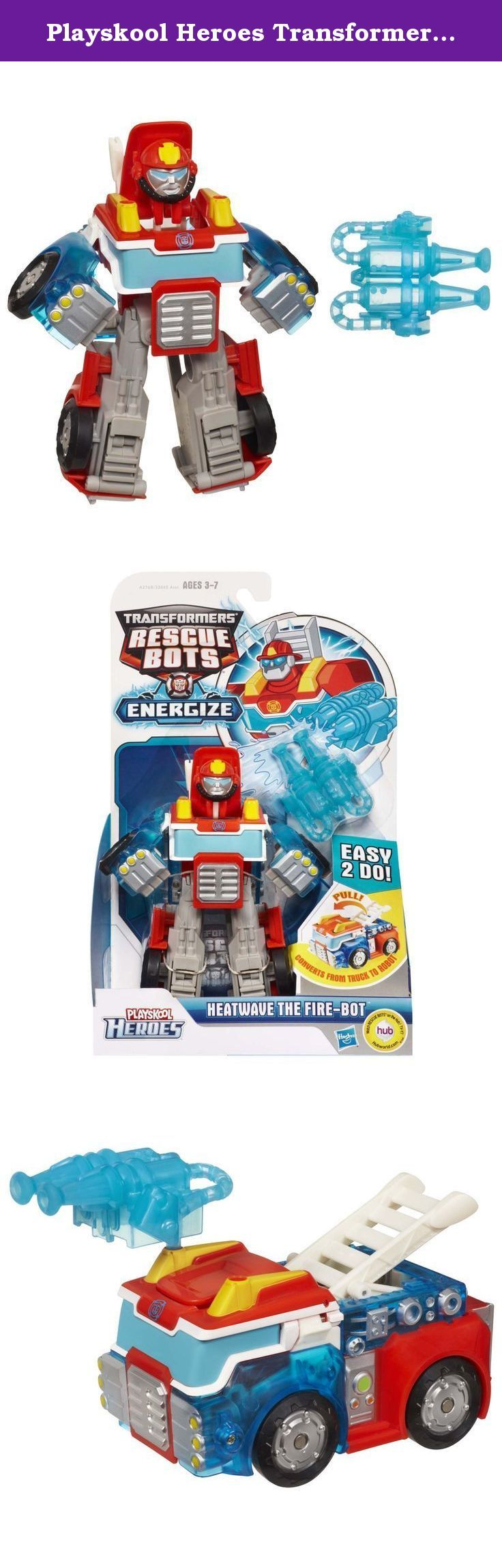 """Playskool Heroes Transformers Rescue Bots Energize Heatwave the Fire-Bot Figure. This classic Transformers character converts easily for the youngest kids. It just takes one easy step for your little one to convert this heroic Heatwave the Fire-Bot figure from robot to fire truck mode and back! He comes with a """"water"""" cannon that attaches to the fire truck's cab in vehicle mode. No matter what dangers await, this Heatwave the Fire-Bot figure is ready to be a hero with your little hero!..."""