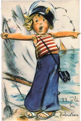 """Carte ancienne de Germaine Bouret : """"22 v'là les flibustiers"""""""