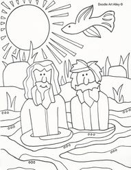 Cute Baptism Of Jesus Coloring Page 76 John the Baptist baptizing