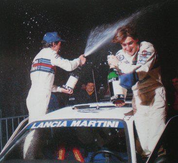 ra Henri Toivonen-Sergio Cresto-Celebrando la victoria del 54º Rally Monte-Carlo de 1986. Lancia Delta S4. Equipo Martini Lancia.
