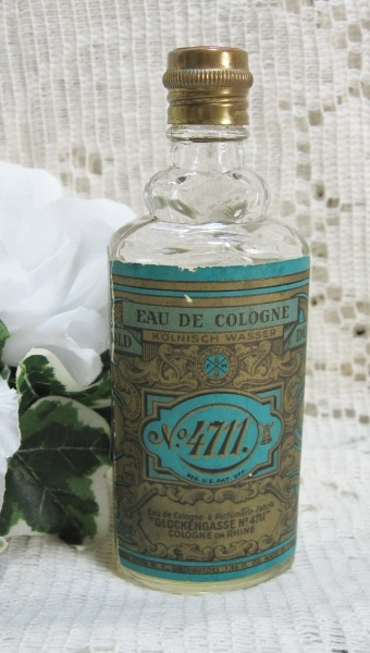 German No 4711 Cologne  Whenever I see this bottle I think of my grandma, she always had a handkerchief and dabbed 4811 on it. Sweet memory!