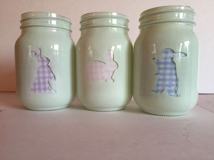 Bunny mason jars are great for Easter decor or presents. Pictures are fabric lined jars, but can be a second color paint or glitter as well. If the insides of the jars are painted, it is not recommend