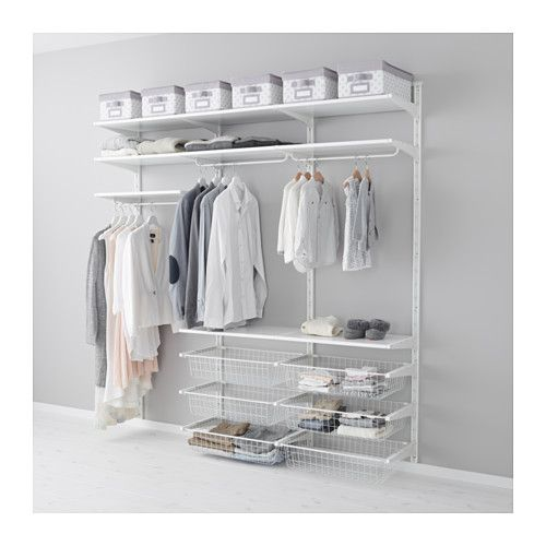 IKEA - ALGOT, Wall upright/shelves/rod, The parts in the ALGOT series can be combined in many different ways and easily adapted to your needs and space.Can also be used in bathrooms and other damp indoor areas.You click the brackets into the ALGOT wall uprights wherever you want to have a shelf or accessory – no tools needed.