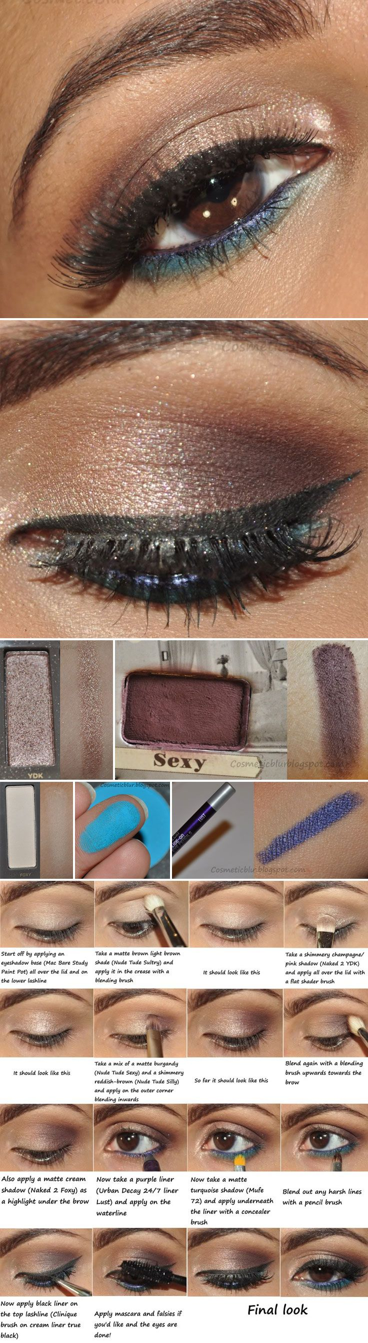 DIY :: Light Smokey Eyes w/ a Pop of Color by #cosmeticblur :: Uses MAC bare Study Paint Pot, Y2K from Naked 2 (a shimmery pinky-brown), Sexy from theBalm's Nude Tude (matte rusty color), Foxy from Naked 2 (matte white), Urban Decay 24/7 liner in Lust (purple) & MUFE #72 (a bright matte turquoise blue) :: CLICK for YouTube VIDEO TUTORIAL!!