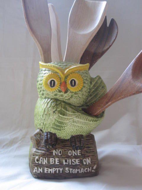 owl utensil holder