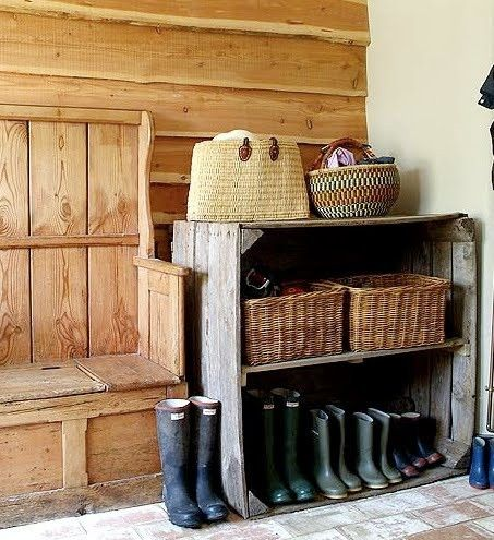 Wood paneled mudroom.Decor, Mudroom, Benches, Country House, Mud Rooms, Room Ideas, Shoes Storage, Old Crates, Boots