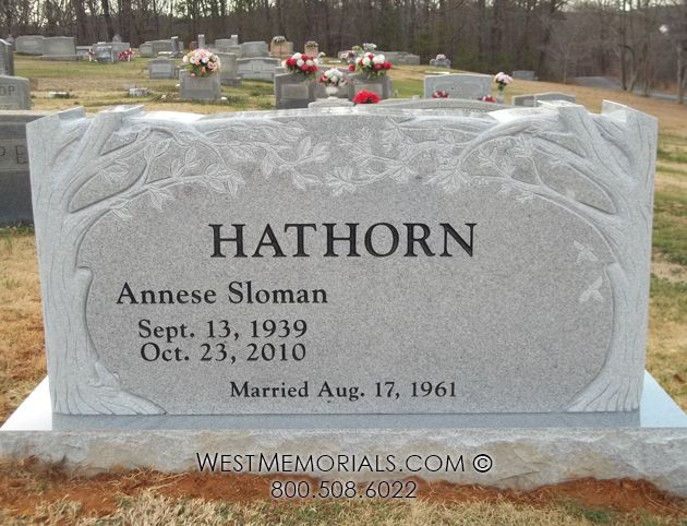 Hathorn Double Tree Carving Companion Headstone in Granite