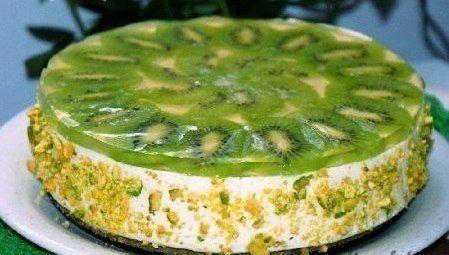 Лёгкий творожный торт с киви