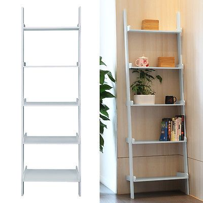Gray Ladder Shelving Unit 5 Tier Display Stand Book Shelf Wall Rack Storage