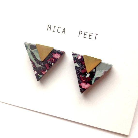 Triangle Earrings Geometric Earrings / Studs - Laser Cut Wood Geometric Jewellery Triangle Jewellery Stocking Fillers