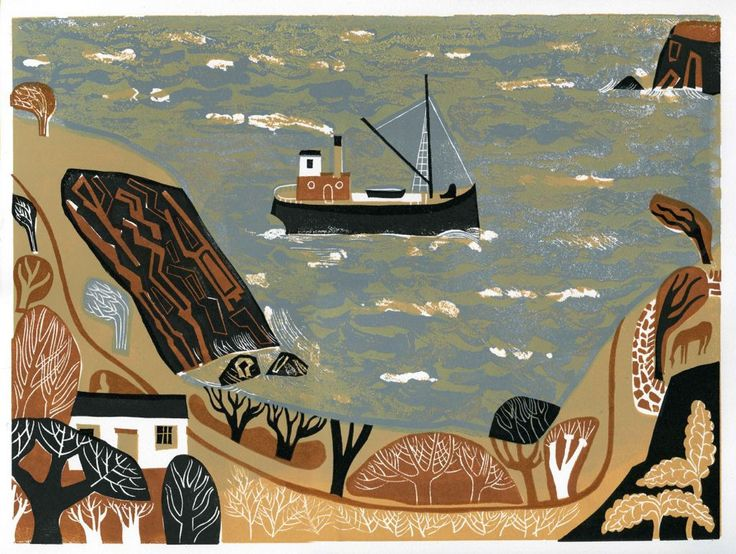 Melvyn Evans, The Path by the Coast, linocut
