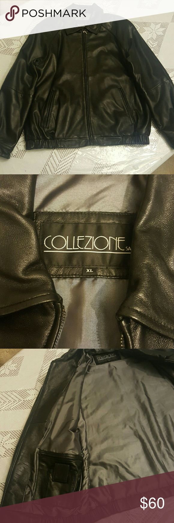 100% Men Leather Jacket Used but in like new condition. Collezione SA Jackets & Coats