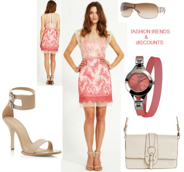 Mint Velvet Flamingo lace & organza dress http://tidd.ly/97f79e2  Mila Louise HYVANA - Across body bag http://tidd.ly/ebf24da1   KG Kurt Geiger Harmony Ankle Strap Sandal  http://bit.ly/1ds2WfA  Emporio Armani Ladies' Watch http://tidd.ly/e9e677b7  Versace VE2101 sunglasses http://tidd.ly/da00331d