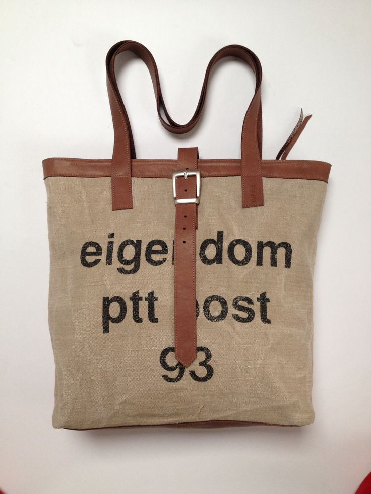 Bag, made of an old Dutch postbag (1993). The lining is the sail of the sailboat.