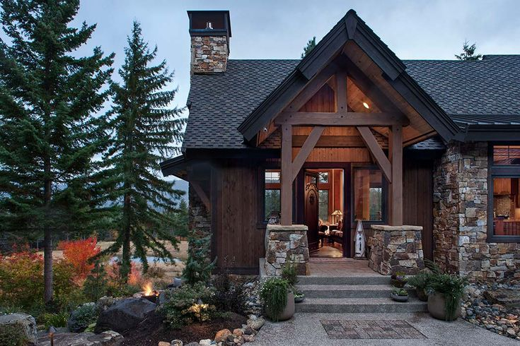 Timber frame house front entry