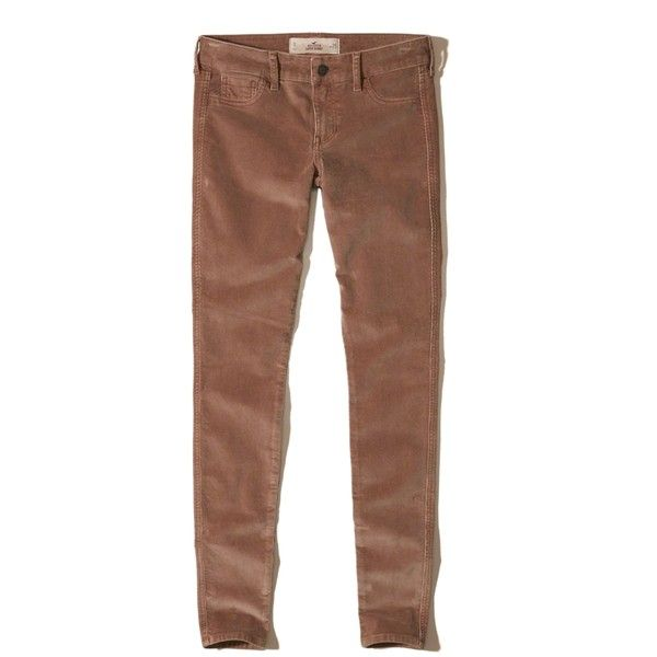 Hollister Low-Rise Super Skinny Corduroy Pants ($50) ❤ liked on Polyvore featuring pants, light brown, zipper pants, cordoroy pants, low rise pants, zipper trousers and skinny trousers