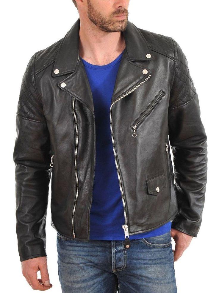 Men's Genuine Lambskin Leather Jacket Black Slim fit Biker Motorcycle Jacket 10 #LeatherLifestyle #Motorcycle
