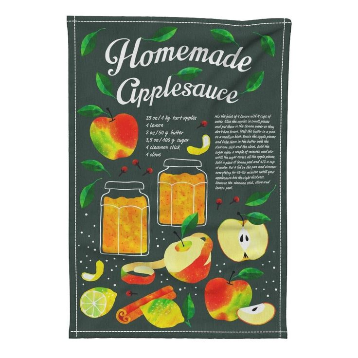 Special Edition Spoonflower Tea Towel featuring Homemade Applesauce recipe tea towel by heleen_vd_thillart