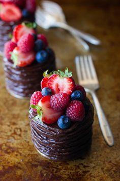 Mini Double Chocolate Berry Cakes | thekitchenmccabe.com