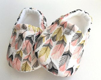 Feather Moccs, Baby Booties, Baby Slippers, Baby Crib Shoes, Baby Moccasins, Moccs, Baby Shoes, Soft Soled Baby Shoes