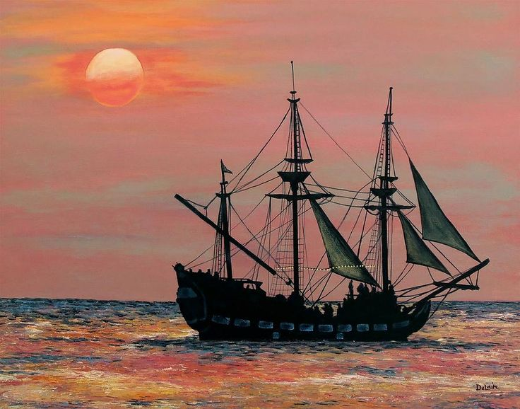 Caribbean Pirate Ship | come sail away | Ship paintings ...