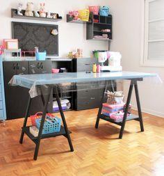 Mesa de cavalete feita em casa