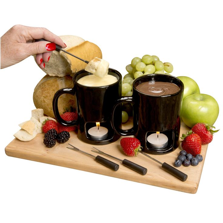 Evelots Set of 2 Classic Personal Fondue Mugs - Chocolate & Cheese - Black,White